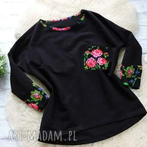 różowe bluzy folkowa dresowa bluza oversize cleo