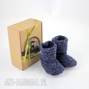 niebieskie buciki miękkie bambosze / hand made wełna