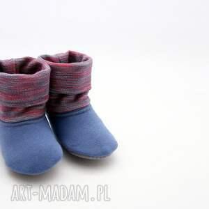 niebieskie buciki butki bambosze z golfem / hand made