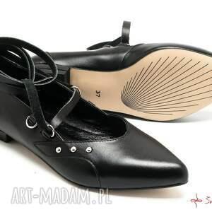 szare buty balaeriny katarzynki - wiązane baleriny
