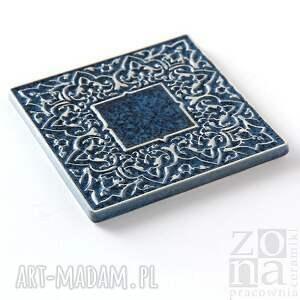 dekory ceramika kafle szaroniebieskie arabeski