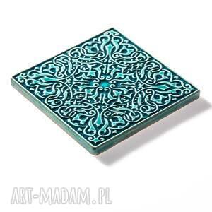 dekory ceramika kafle turkusowe arabeski zestaw i