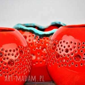 ceramika lampa lampion ball czerwony z turkusem