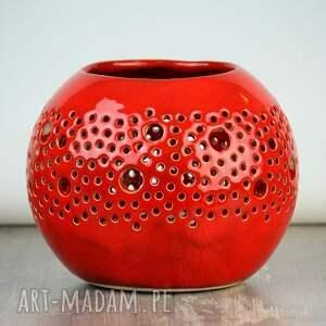 czerwone ceramika lampion ball czerwony