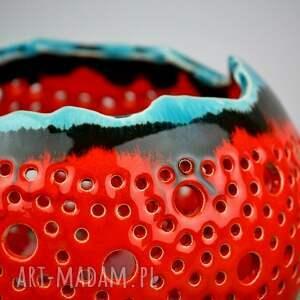 turkusowe ceramika lampion ball czerwony z turkusem