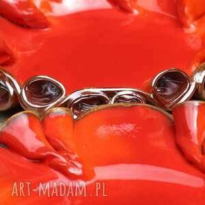 pomarańczowe ceramika patery twist czerwono-złote
