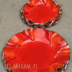 ręcznie robione ceramika patera patery twist czerwono-złote
