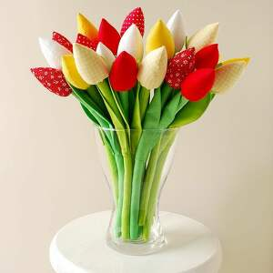 dekoracje tulipany - bukiet 15 bawełnianych