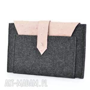 różowe etui filc na tablet 7- grafitowe