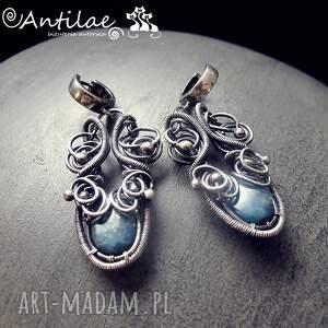 niebieskie kolczyki apatito - apatyt, srebro, wire