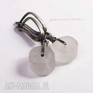 hand made kolczyki kryszyał kryształ górski na surowo