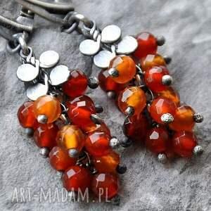 pomarańczowe kolczyki srebro ogniste agaty- energetyczne