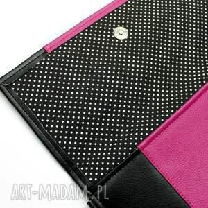 kopertówki elegancka kopertówka - czarna i środek fuksja