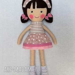 lalka lalki różowe malowana lala patrycja z wełnianym
