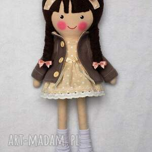 brązowe lalki zabawka malowana lala katarzyna z wełnianym