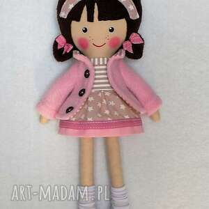 brązowe lalki zabawka malowana lala patrycja z wełnianym