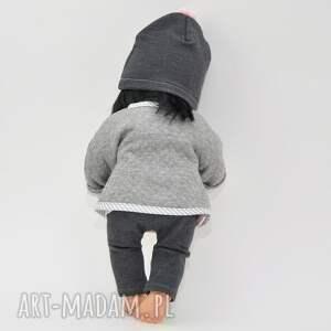 lalki ubranka zestaw szara kurteczka czapka