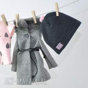 różowe lalki ubranka zestaw szary płaszczyk