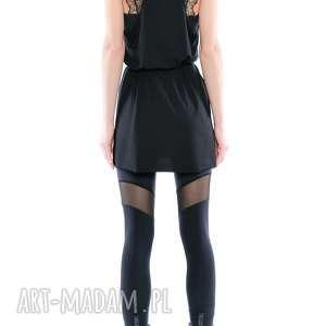 unikalne legginsy elastyczne - czarne z tiulem