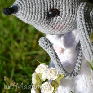 białe maskotki prezent szydełkowa przytulanka, myszka