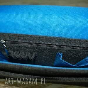 niebieskie na laptopa torba z filcu - listonoszka