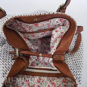 brązowe na ramię torebka xxl torba z czerwienią