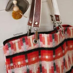 czerwone na ramię wełniana torba