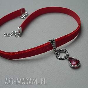 czerwone naszyjniki choker - red
