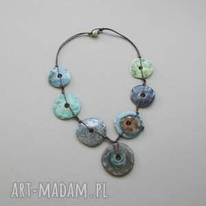 """turkusowe naszyjniki biżuteria naszyjnik """"zielono-niebieskie koła"""""""