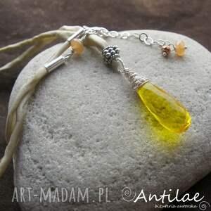 jedwab naszyjniki żółte yosavuta i - kwarc, srebro,