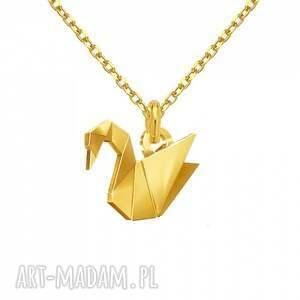 naszyjniki modny złoty naszyjnik z łabędziem origami