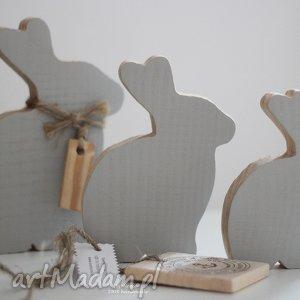 komplet drewnianych zajęcy, drewniane, szare, zajączek, zając, wielkanocny, ozdoba