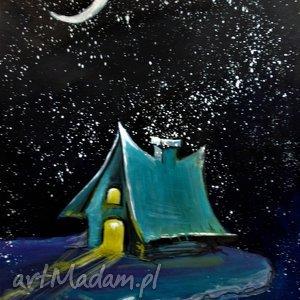 akwarela domek elfów artystki plastyka adriany laube, akwarela, księżyc, elf
