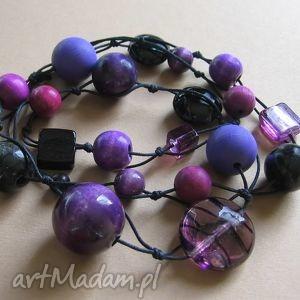 magic violet - długie korale - korale, drewno, szkło, długie