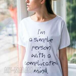SIMPLE PERSON Oversize T-shirt, oversize, tshirt, biały, casual, moda, bawełna