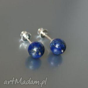 kolczyki wkrętki lapis lazuli, kolczyki, wkrętki, srebne, lapis, kulki
