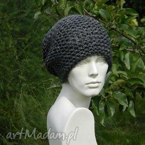 tweed stalowy - na prawo czapka, tweedowa, zimowa, ciepła, krasnal, uniwersalna