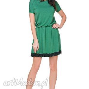 sukienka z dekoltem na plecach t171, zielona - sukienka, dekolt, na, plecach, odcinana