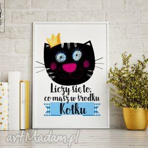 plakaty plakat liczy się to, co masz w środku-kotku, kotek, walentynki, prezent