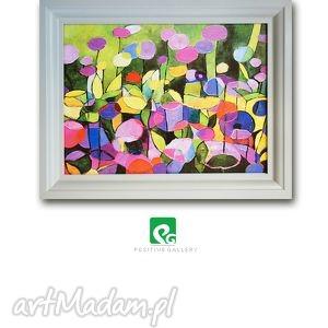 grafika kwiaty w ogrodzie grafika, kwiaty, ogród, plakat, obraz, reprodukcja