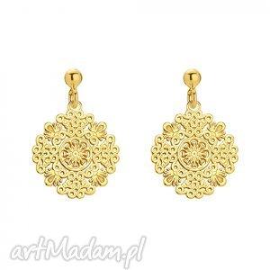 złote kolczyki z rozetkami, kolczyki, rozety, zawieszka, orientalne, boho, modne