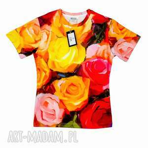 artystyczny t-shirt damski - malowane róże jakość premium , wzór, róże, artystyczna
