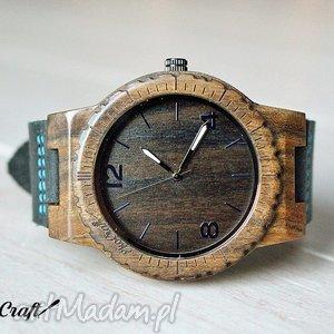 Drewniany zegarek EBONY WINTER COLLECTION, zegarek, drewniany, heban, drewno, skóra
