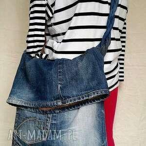na ramię torba z jeansu plecionym uchwytem, ekotorba, jeans, ćwieki, bawełna