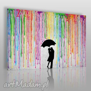 obrazy obraz na płótnie - deszcz kolory para 120x80 cm 46401 , deszcz