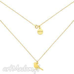 złoty naszyjnik ze słowikiem - naszyjnik, słowik, ptak, ptaszek, zloty