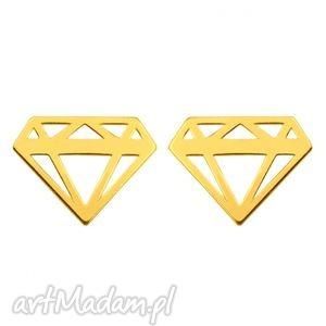 pod choinkę prezent, kolczyki złote diamenty, modne, kolczyki, geometryczne