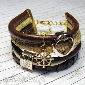 bransoletka z rzemieni ekologicznych oraz naturalnych brown gold