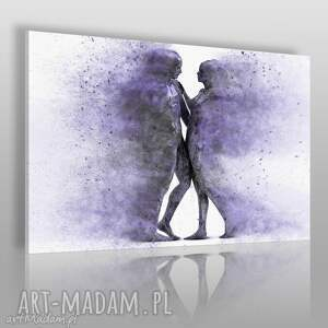 obraz na płótnie - para sylwetki postacie fioletowy 120x80 cm 38403 , para, cienie
