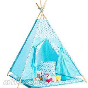 teepee błękitny w ptaszki, teepee, prezent, zabawa, dziecko, wigwam dla dziecka